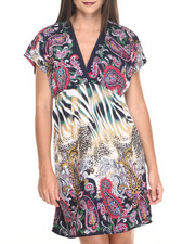 Women - Animal/Paisley Print Surplice Dress