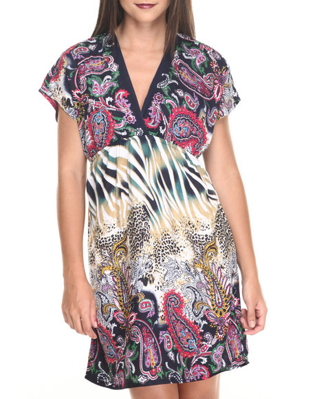She's Cool - Women Multi,Navy Animal/Paisley Print Surplice Dress