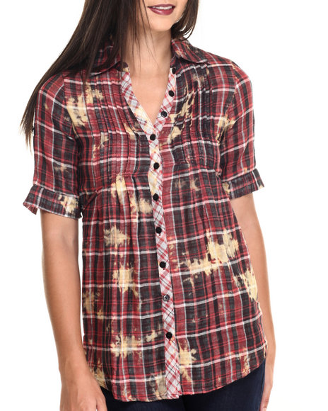 She's Cool - Women Red Plaid Roll Sleeve Chambray Tunic Top - $24.00