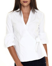 Women - Wrap Around Flutter Sleeve Woven Shirt