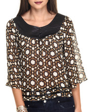 Tops - Pintuck Satin Neckline Graphic Print Top