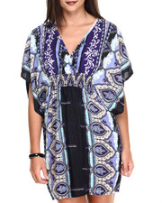 Women - Smocked Waist Scroll Print Kimono Dress