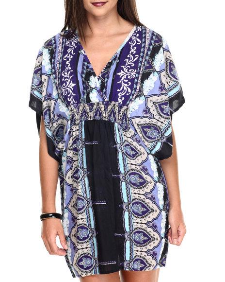 Ur-ID 220504 She's Cool - Women Light Blue,Purple Smocked Waist Scroll Print Kimono Dress