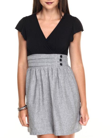 Ur-ID 220505 She's Cool - Women Black,Grey Knit Chambray 2Fer Dress