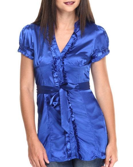 Ur-ID 220506 She's Cool - Women Blue,Blue Satin Ruffle Trim Woven Top