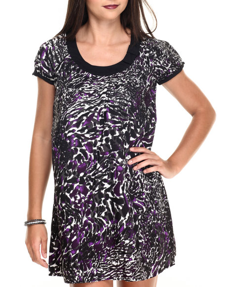 Vertigo Women Animal Print TShirt Dress Black Medium