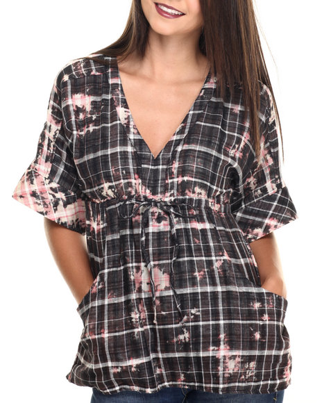 Ur-ID 220510 She's Cool - Women Black,Brown,Light Pink Tie Dye Plaid Pocketed Woven Top