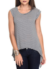 Women - Stripe Asymmetrical Knit Top