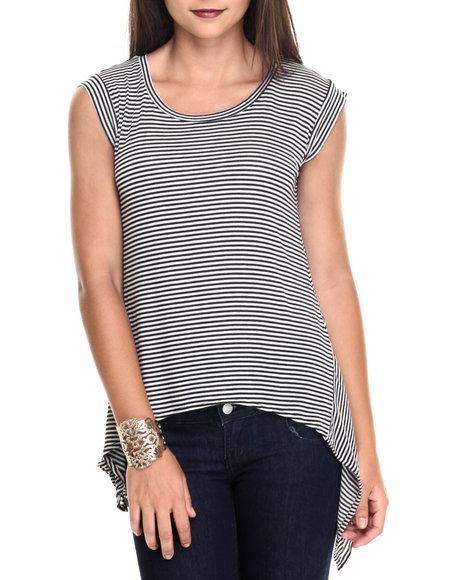 Vertigo - Women Black,White Stripe Asymmetrical Knit Top