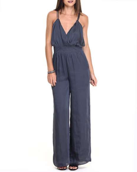 Ur-ID 220512 Vertigo - Women Charcoal Satin Night Out Jumpsuit