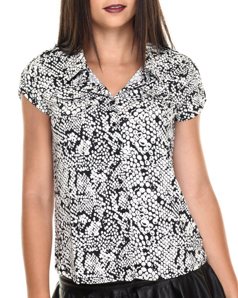 Vertigo - Women Off White,Black Snake Print Cap Sleeve Shirt