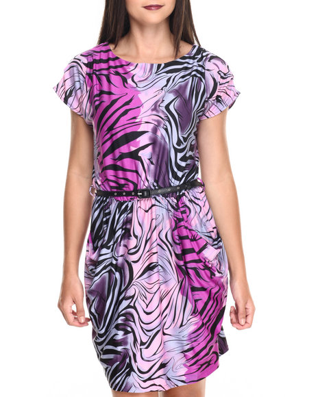 Ur-ID 220517 She's Cool - Women Purple Animal Print Pockets Belted Dress