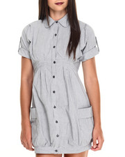 Women - Roll Sleeve Side Pockets Chambray Shirt Dress