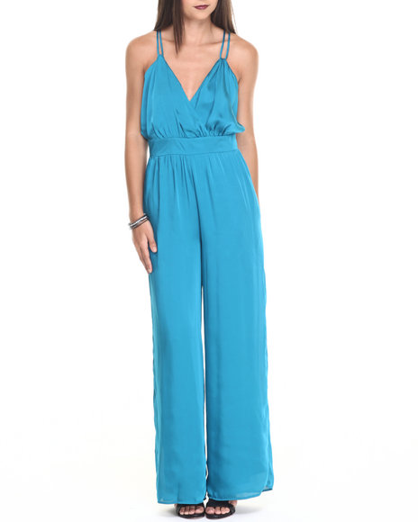 Ur-ID 220525 Vertigo - Women Blue Satin Night Out Jumpsuit