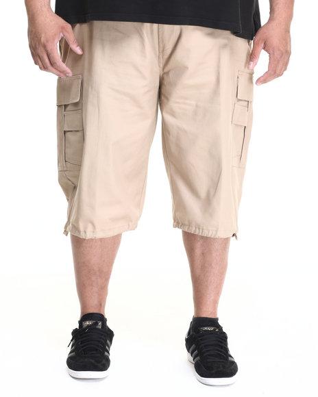 Basic Essentials - Men Khaki Belted Cotton Cargo Shorts (B&T)