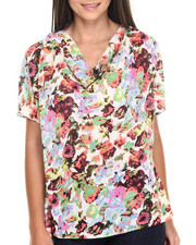 Tops - Neon Meadow Print Draped Front Top