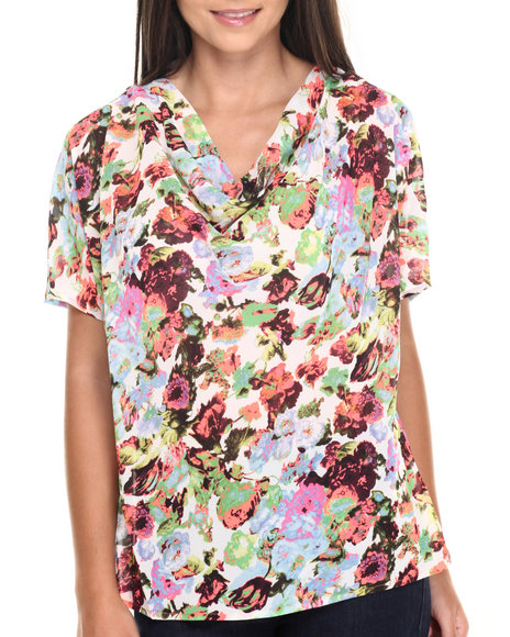 Ur-ID 220487 Vertigo - Women Multi Neon Meadow Print Draped Front Top