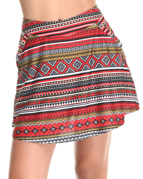 She's Cool - Women Olive,Red Aztec Print Skater Skort