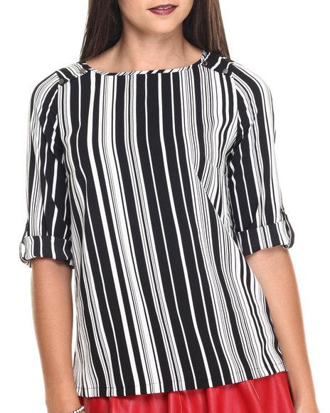 Ur-ID 220492 Vertigo - Women Black,White Stripe Print Roll Sleeve Top