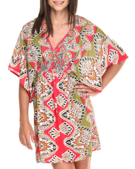 She's Cool - Women Lime Green,Red Placement Print Kimono Dress