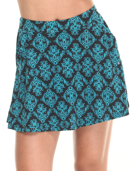 She's Cool - Women Black,Teal Scroll Print Skater Skort