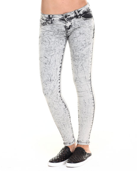 Basic Essentials - Women Grey Acid Gravel Skinny Jean