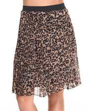 Women - Pleated Chiffon Animal Print Hi Low Hem Skirt