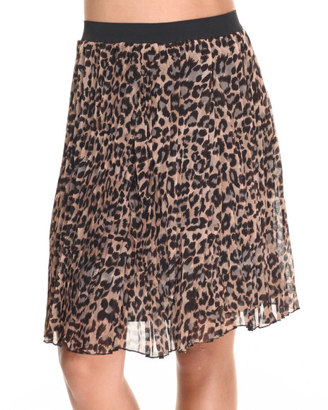 Shes Cool Women Pleated Chiffon Animal Print Hi Low Hem Skirt Animal Print Small