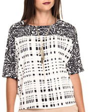 Women - Opposites Attract Dual Print 3/4 Sleeve Top