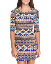Women - Tribal Print Scuba Dress