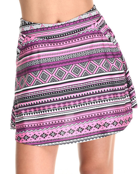 She's Cool - Women Purple Aztec Print Skater Skort