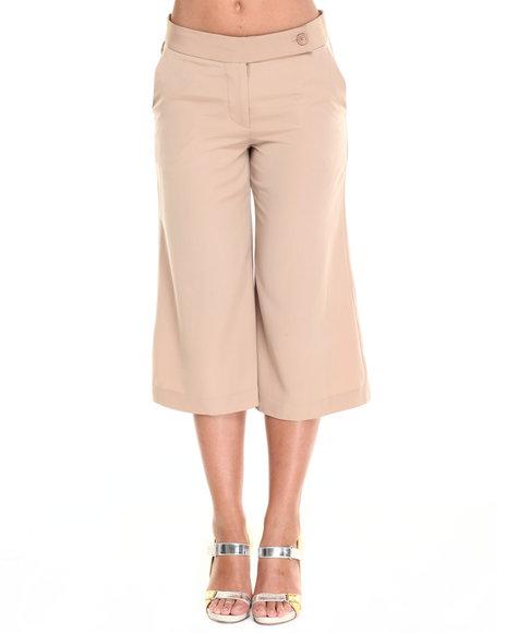 Ur-ID 220519 Vertigo - Women Beige Tab Waist Gaucho Pants