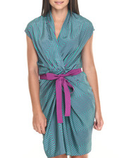 Women - Chevron Print Tie Waist Rouched Wrap Dress