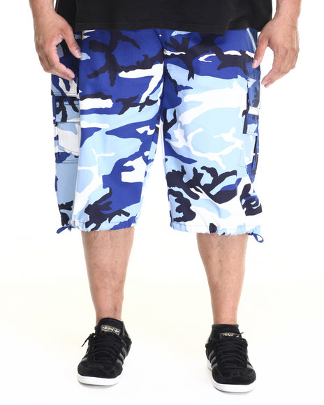 Basic Essentials - Men Navy Belted Cotton Camo Cargo Shorts (B&T)