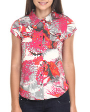 Polos & Button-Downs - Burnout Floral Print Cap Sleeve Shirt