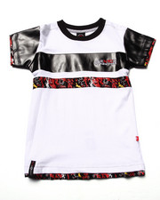 Boys - CUT & SEW TEE W/ FAUX LEATHER SLEEVES (4-7)