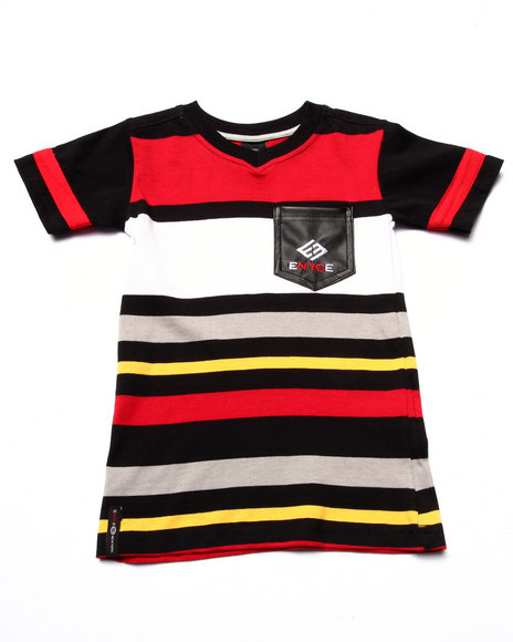 Enyce - Boys Multi Striped V-Neck Pocket Tee (4-7) - $11.99