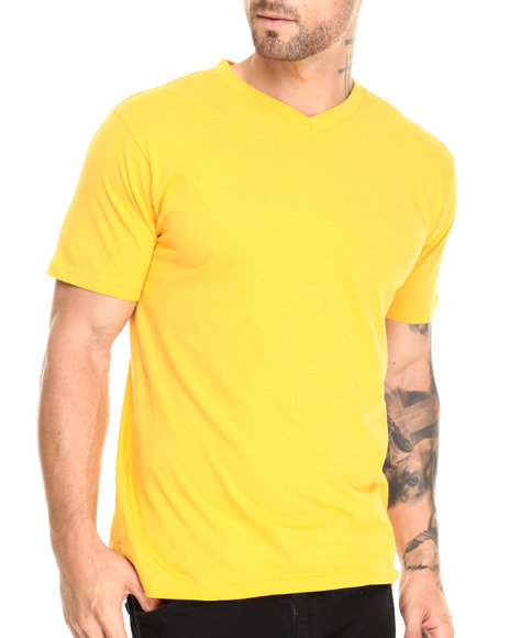 Ur-ID 220540 Basic Essentials - Men Yellow Premium V - Neck S/S Tee