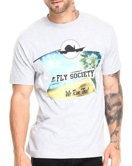 Ur-ID 220542 Flysociety - Men Light Grey Aces High T-Shirt