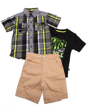 Boys - 3 PC PLAID WOVEN, TEE, & SHORTS SET (4-7)