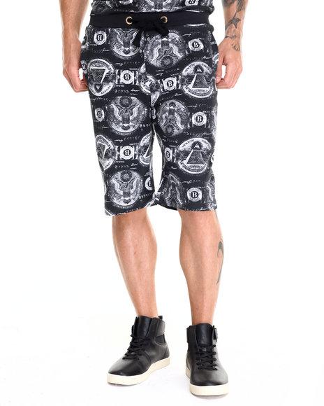 Ur-ID 220586 Basic Essentials - Men Black Almighty Dollar Printed Cotton Shorts