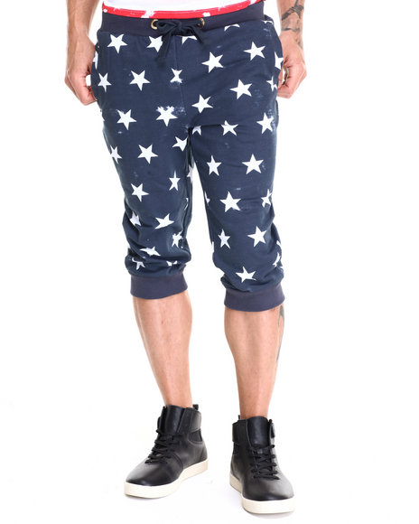 Basic Essentials - Men Navy Vintage Star French Terry Capri Joggers