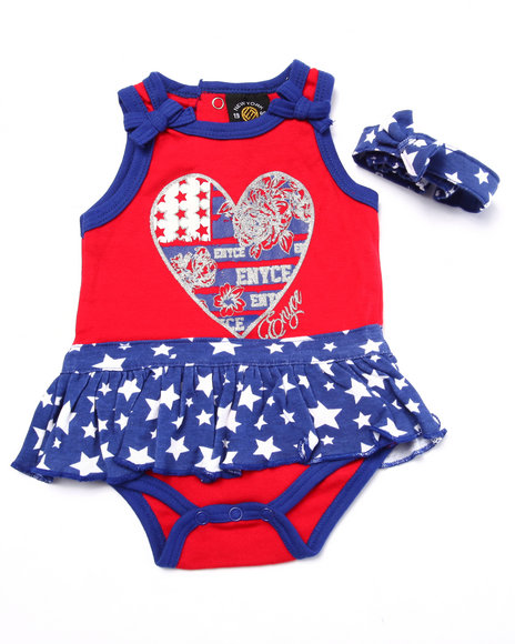 Enyce - Girls Red Americana Dress & Headband (Newborn) - $8.99