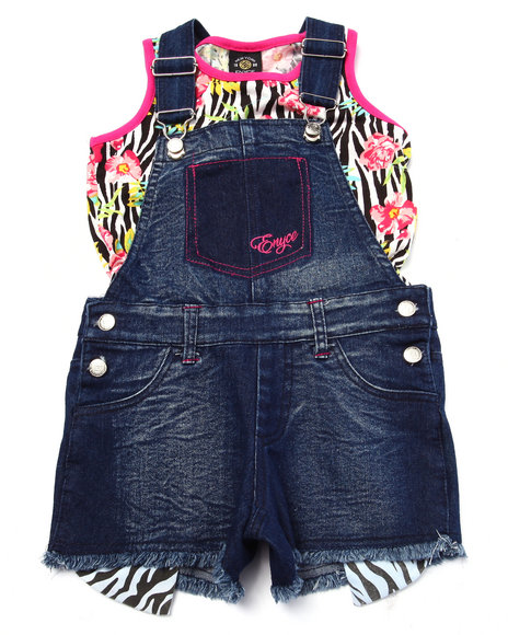 Enyce - Girls Dark Wash 2 Pc Zebra Overall Set (4-6X) - $16.99