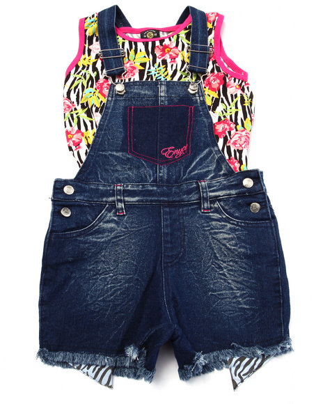 Enyce - Girls Dark Wash 2 Pc Zebra Overall Set (7-16) - $25.99