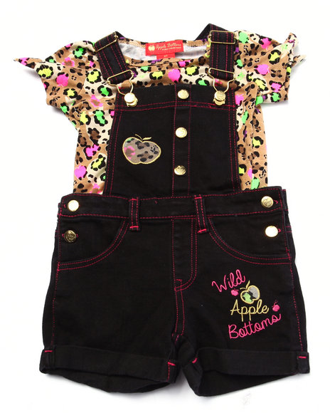 Apple Bottoms - Girls Dark Wash 2 Pc Shortall Set (2T-4T)