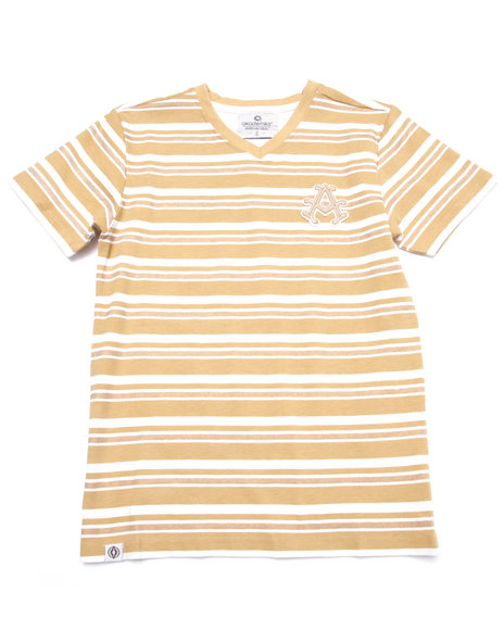 Akademiks - Boys Khaki Striped V-Neck Tee (8-20)