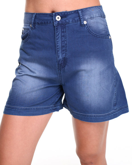 Bellfield - Women Medium Wash Denim Winged Leg Shorts
