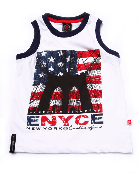 Enyce - Boys White Brooklyn Bridge Americana Tank (4-7) - $4.99