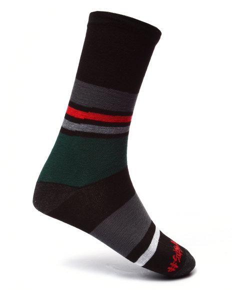 Drj Sock Shop - Men Green Dino/Stripes 2Pk Crew Socks